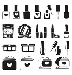 21 black and white make up silhouette elements vector image