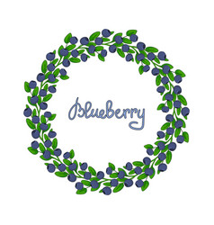 A wreath of blueberries ornament leaves and vector
