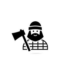 Avatar lumberjack with an ax isolated on a vector