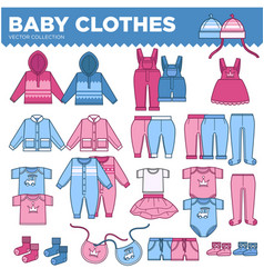 baby clothes for little boys and girls collection vector image