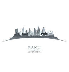 Baku azerbaijan city skyline silhouette white vector