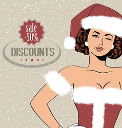 beautiful woman dressed as Santa Claus vector image