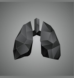 black low poly human lungs on a gray background vector image