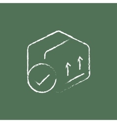 Box with two arrows icon drawn in chalk vector