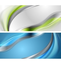 Bright blue and green wavy banners vector