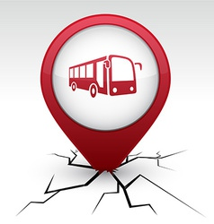 Bus red icon in crack vector
