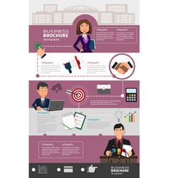 business infographic template with office workers vector image
