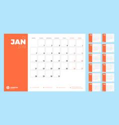 Calendar planner for 2019 week starts on monday vector