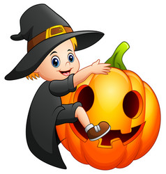 cartoon little witch with a pumpkin vector image