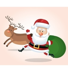cheerful santa claus with reindeer and bag gift vector image