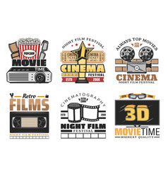cinema movie and festival retro icons vector image