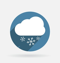 cloud snow Circle blue icon with shadow vector image