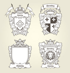 coat arms and blazons - heraldic shields vector image