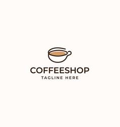 Coffee cup shop monoline logo concept vector