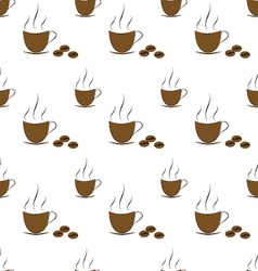Coffee with beans pattern vector image