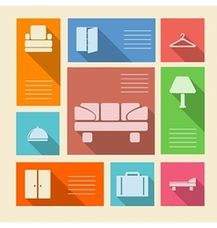 Colored icons for hotel with place for text vector image