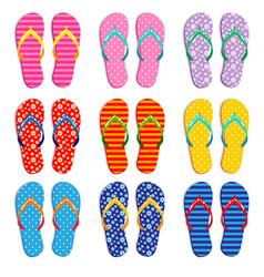 Colorful flip flops in various patterns vector