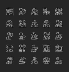 company structure chalk white icons set on black vector image