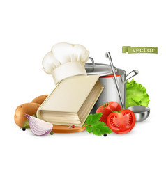 cooking recipe book 3d realistic food vector image
