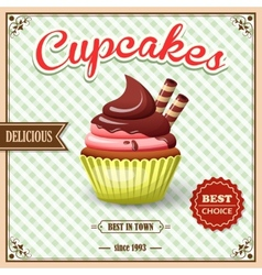 Cupcake cafe poster vector image