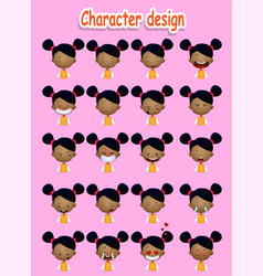 cute cartoon afro-american girl vector image