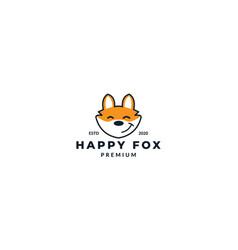 Cute fox head face smile happy logo design icon vector