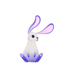 cute rabbit with ultra violet ears and legs vector image
