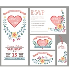 Cute wedding design template setFloral decor vector
