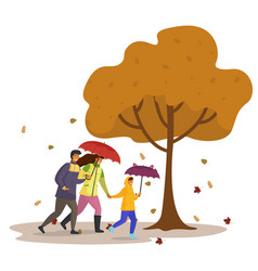 daughter dad and mom walking in autumn park with vector image