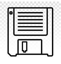 Diskette floppy disk line art icon for apps vector