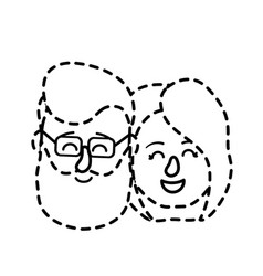 dotted shape avatar couple head with hairstyle vector image