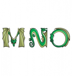 Dragons Alphabet mno vector