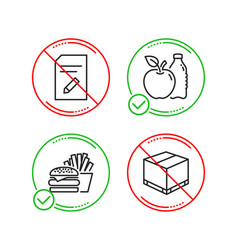 edit document burger and apple icons set vector image