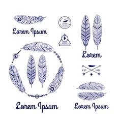 ethnic feathers logo vector image