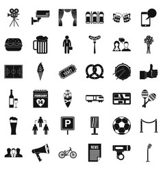 Event icons set simple style vector