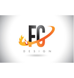 Fc f c letter logo with fire flames design and vector