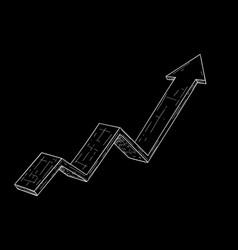 financial rising arrow hand drawn sketch on black vector image
