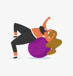 fitness ball for girl plus size health sport in vector image
