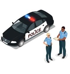 Flat 3d isometric police car vector