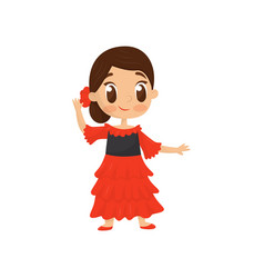 Flat icon of smiling girl in traditional vector