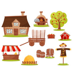 Flat set of farm icons small house wood vector