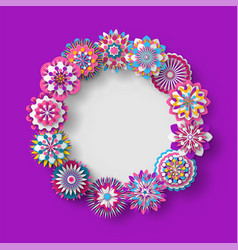 floral decoration rounded shape frame banner vector image