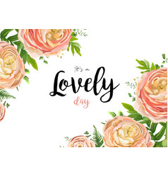 Floral watercolor style card with pink flowers vector