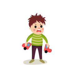Frustrated kid boy flat character holding broken vector