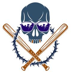 Gang brutal criminal emblem or logo with vector