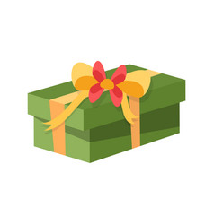Gift box decorated with bow made of tape ribbon vector