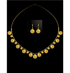 gold coin necklace set 1 vector image