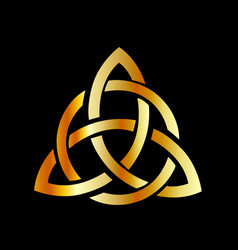 golden triquetra celtic cross-3 point celtic knot vector image
