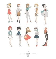 Hand drawn set with cute fashion girls in dresses vector
