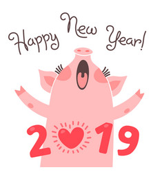 Happy 2019 new year card funny piglet vector